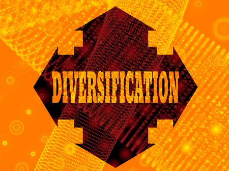 diversification: Arrow cross with diversification word. Way choosing metaphor. 3D rendering Stock Photo
