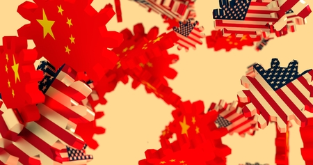 politic: Image relative to politic and economic relationship between USA and China. National flags on flying cog wheels Stock Photo