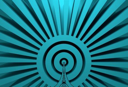 wireless hot spot: Wi Fi Network  Symbol . Mobile gadgets technology relative image. 3D rendering. Sun rays backdrop