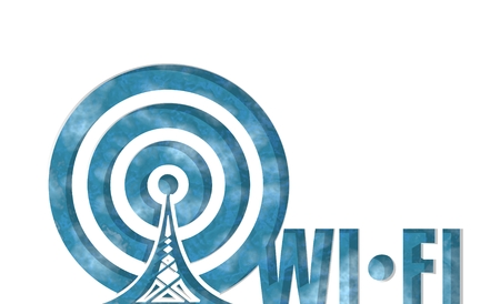 wireless hot spot: Wi Fi Network  Symbol . Mobile gadgets technology relative image. 3D rendering. Cut out wi fi text