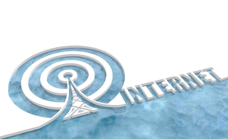wireless hot spot: Wi Fi Network  Symbol . Mobile gadgets technology relative image. 3D rendering. Internet text