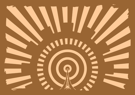wireless hot spot: Wi Fi Network  Symbol . Mobile gadgets technology relative vector image. Sun rays background