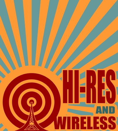 res: Wi Fi Network  Symbol . Mobile gadgets technology relative vector image. Hi res and wireless text on sun rays background Illustration