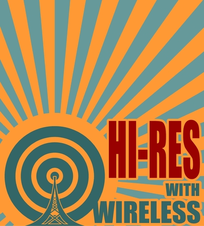 wireless hot spot: Wi Fi Network  Symbol . Mobile gadgets technology relative vector image. Hi res with wireless text on sun rays background
