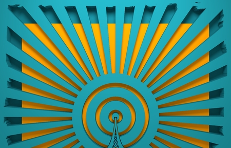 wireless hot spot: WiFi Network  Symbol . Mobile gadgets technology relative image. 3D rendering. Sun rays backdrop