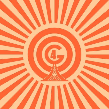 Simbolo di rete WiFi. vettore immagine relativa tecnologia mobile gadget. Sun raggi sfondo. testo 4G