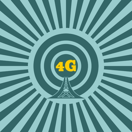 wireless hot spot: WiFi Network  Symbol . Mobile gadgets technology relative vector image. Sun rays background. 4G text