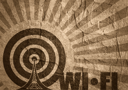 wireless hot spot: WiFi Network  Symbol . Mobile gadgets technology relative image. Concrete textured. Sun rays backdrop. WiFi text Stock Photo