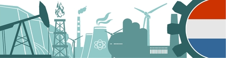 heavy industry: Energy and Power icons set. Header banner with Netherlands flag. Sustainable energy generation and heavy industry. Vector illustration