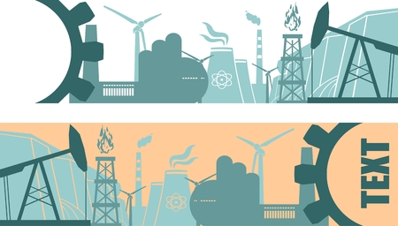 text field: Energy and Power icons set. Header banner with text field. Sustainable energy generation and heavy industry. Vector illustration