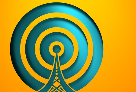 wireless hot spot: WiFi Network  Symbol . Mobile gadgets technology relative image. 3D rendering. Cut out icon