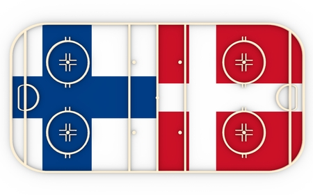 ice surface: Finland vs Denmark. Ice hockey competition 2016. National flags on playground. 3D rendering Stock Photo