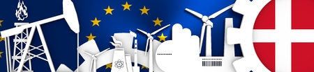 denmark flag: Energy and Power icons set. Header banner with Denmark flag. Sustainable energy generation and heavy industry. European Union flag backdrop. 3D rendering Stock Photo