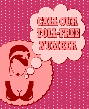 toll free: Chat or customer service operator. Call our toll free number text in bubble speech. Retro style Illustration