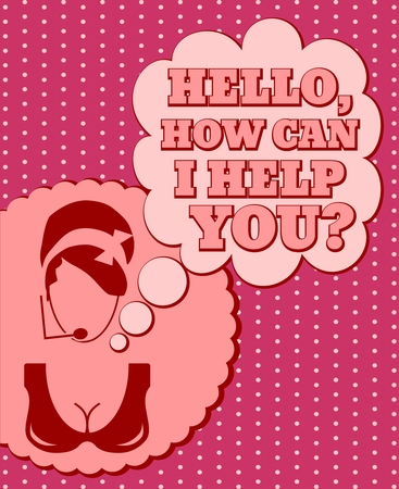 Chat or customer service operator. Hello, how can i help you text in bubble speech. Retro style