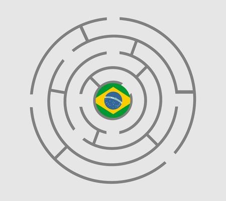 politic: Brazil flag in the maze of politic problems metaphor. Vector illustration Illustration