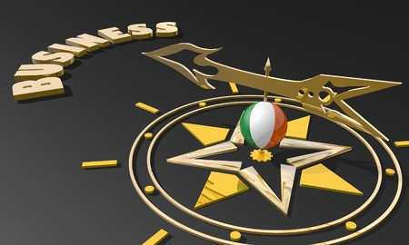 business metaphor: Red arrow of a compass pointing to the word business. 3D Rendering. Ireland business metaphor