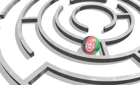 politic: Image relative to politic situation in Afghanistan. National flag textured sphere in labyrinth. 3d rendering