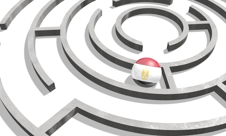 area of conflict: Image relative to politic situation in Egypt. National flag textured sphere in labyrinth. 3d rendering