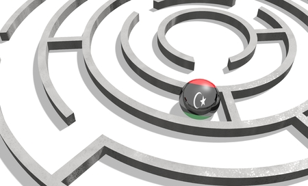 area of conflict: Image relative to politic situation in Libya. National flag textured sphere in labyrinth. 3d rendering Stock Photo