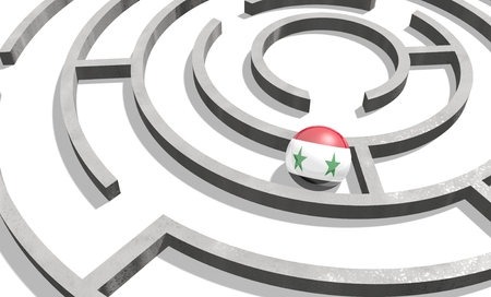 politic: Image relative to politic situation in Syria. National flag textured sphere in labyrinth. 3d rendering Stock Photo