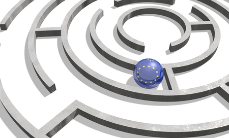 area of conflict: Image relative to politic situation in European Union. National flag textured sphere in labyrinth. 3d rendering
