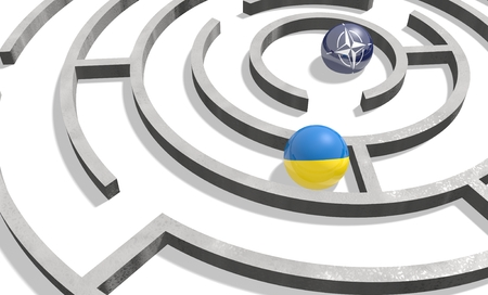 area of conflict: Image relative to politic situation in Ukraine. National flag textured sphere in labyrinth. 3d rendering Stock Photo