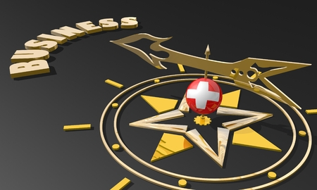 business metaphor: Red arrow of a compass pointing to the word business. 3D Rendering. Switzerland business metaphor