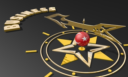 business metaphor: Red arrow of a compass pointing to the word business. 3D Rendering. Turkey business metaphor