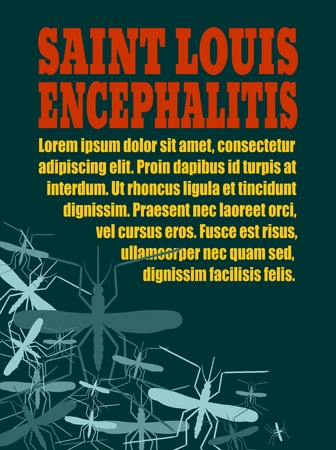 encephalitis: Modern vector brochure, report or flyer design template. Medical industry, biotechnology and biochemistry. Scientific medical designs. Mosquito transmission diseases. Saint Louis encephalitis
