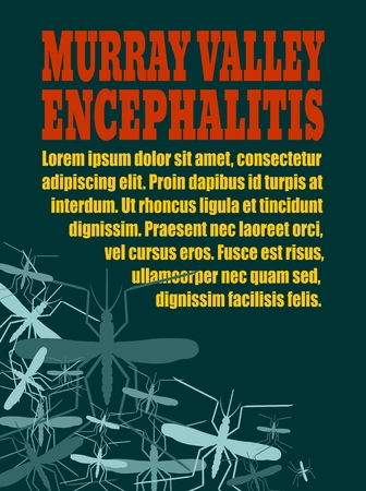 encephalitis: Modern vector brochure, report or flyer design template. Medical industry, biotechnology and biochemistry. Scientific medical designs. Mosquito transmission diseases. Murray Valley encephalitis