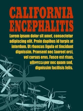 encephalitis: Modern vector brochure, report or flyer design template. Medical industry, biotechnology and biochemistry. Scientific medical designs. Mosquito transmission diseases relative. California encephalitis
