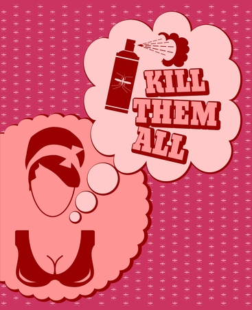 thinking cloud: Woman face icon with thinking cloud. Kill them all message. Anti mosquito spray bottle icon