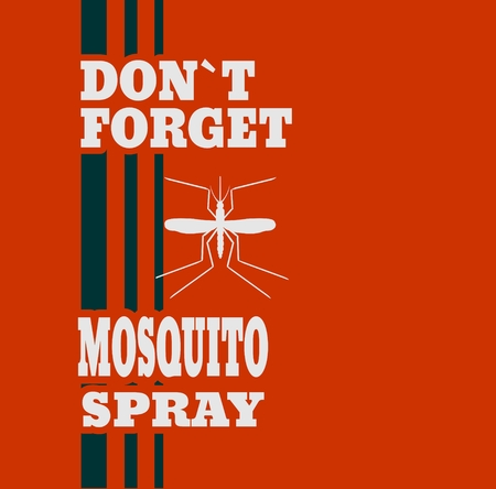 not forget: Illustration of anti-mosquito spray label. Do not forget mosquito spray text.