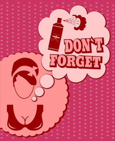 not forget: Woman face icon with thinking cloud. Do not forget message. Anti mosquito spray bottle icon Illustration