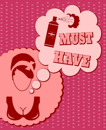 thinking cloud: Woman face icon with thinking cloud. Must have message. Anti mosquito spray bottle icon Illustration
