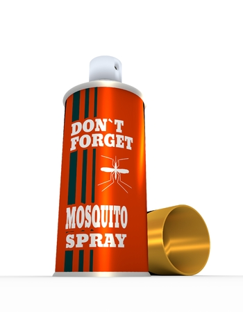 not forget: Illustration of anti-mosquito spray with cap, over white background. 3D rendering. Metallic painting label. Do not forget mosquito spray text. Stock Photo