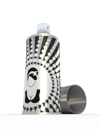 aerosol can: Illustration depicting a single hair spray aerosol can arranged over white. Metallic print vintage label. 3D rendering Stock Photo