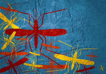 mosquitoe: Virus diseases transmitter. Mosquito silhouettes. Concrete textured surface Stock Photo