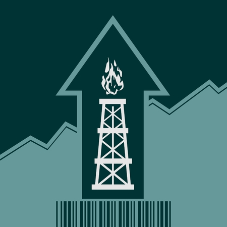 up code: Gas rig icon and rise up arrow. Growth diagram and bar code.