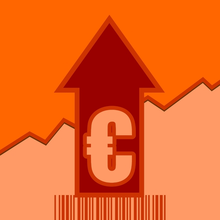 up code: Euro sign and rise up arrow. Growth diagram and bar code. Relative for retail business. Illustration