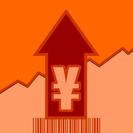 up code: Yen sign and rise up arrow. Growth diagram and bar code. Relative for retail business.
