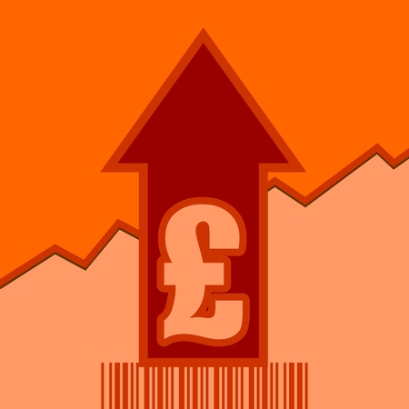 up code: Pound sign and rise up arrow. Growth diagram and bar code. Relative for retail business. Illustration