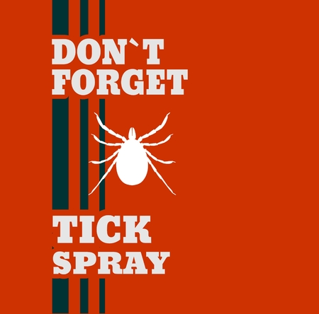 entomologist: Insect silhouette.Tick parasite. Sketch of Tick. Mite. Motivation placard do not forget tick spray. Illustration