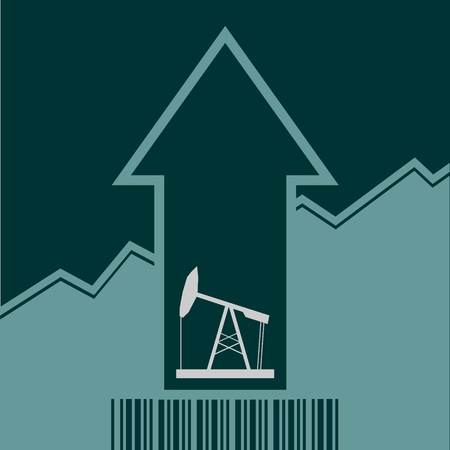 up code: Oil pump icon and rise up arrow. Growth diagram and bar code. Vector illustration