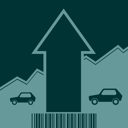 up code: Car i icon and rise up arrow. Growth diagram and bar code. Vector illustration