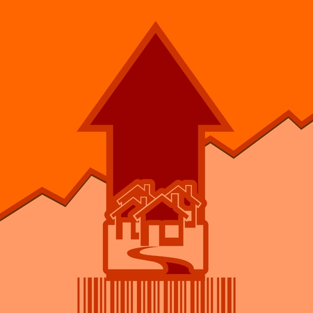 up code: House icons and rise up arrow. Growth diagram and bar code. Relative for real estate business. Vector illustration Illustration