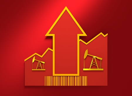 petroluem: Oil pump icon and rise up arrow. Growth diagram and bar code. 3D rendering Stock Photo