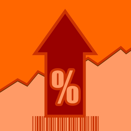up code: Percent sign and rise up arrow. Growth diagram and bar code. Relative for retail business. Vector illustration