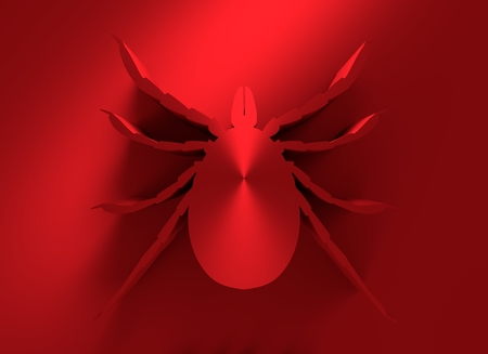 parasite: Insect silhouette.Tick parasite. Sketch of Tick. Mite icon. 3D rendering